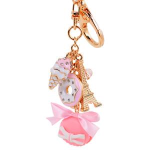 Novidade Keychain! Rosa Rhinestone moda azul bolo agradável Macarons Key Chains Titular Gift Bag Mulheres Charming Decoração Jóias