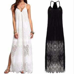 2017 correa de espagueti del verano de las mujeres de gran tamaño vestido maxi sólido flojo más el tamaño de encaje de playa dividir dobladillo vestidos