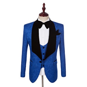 Custom Made Groomsmen Shawl Lapel Groom Tuxedos One Button Men Suits Wedding Dinner Best Man Blazer (Jacket+Pants+Bow Tie+Vest) K663