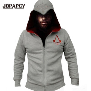 Wholesale-2016 Spring New Fashion Assassins Creed Hoodies Men Zipper Hip Hop Hooded Sweatshirt Casual Costumes Cosplay XS-XXL MXE0148