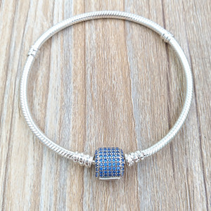 Authentic 925 Sterling Silver Signature Clasp Bracelet, Royal-Blue Crystal Fits European Pandora Style Jewelry Charms & Beads 590723NCB