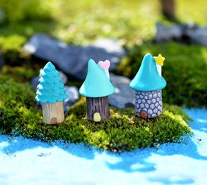 9 pcs casa dos desenhos animados casa estatuetas de fadas do jardim em miniatura resina artesanato casa de bonecas bonsai decoração terrário jardin decoracion
