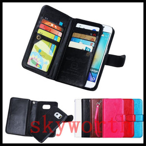 Para el iphone 11 X XS XR Max Plus Samsung Galaxy Note 10 S9 S10 Plus Cartera de cuero magnético del caso desmontable 9 ranuras para tarjetas