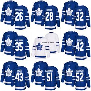 Saison 2017-2018 Toronto Maple Leafs 28 Connor Brown 32 Josh Leivo 35 Curtis McElhinney 42 Tyler Bozak 43 Nazem Kad Maillots de Hockey Personnalisés