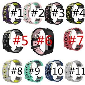 6 colori NUOVI cinturini in silicone bicolore per Fitbit Charge 2 cinturini Charge2 Heart Rate Smart cinturino in acciaio inox fibbia