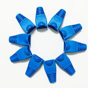 1000 قطعة / الحقيبة rj45 كاب موصل cat5e cat6 rj45 المكونات إيثرنت شبكة الكابل سلالة الإغاثة الأحذية rj45 المقابس المقبس التمهيد قبعات أزرق اللون