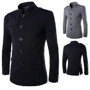 Оптовая торговля-новые поступления мужчины повседневная стенд воротник китайский туника костюм Blazer куртки однобортный джинсовый тонкий куртка и пальто бесплатная доставка
