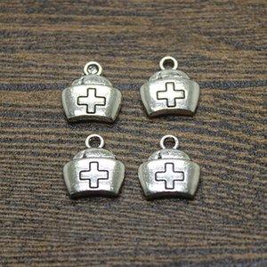 50 adet - 16 * 13mm Antik Tibet Gümüş hemşire şapka charm kolye takı yapımı için