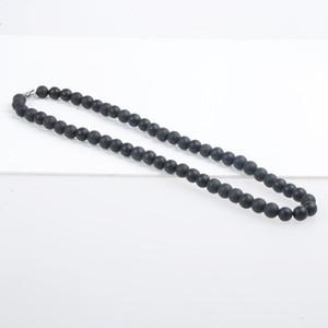 Gros-100% Bian bianshi pierre noire collier sculptent 8mm bianshi collier pour les femmes et les hommes bijoux