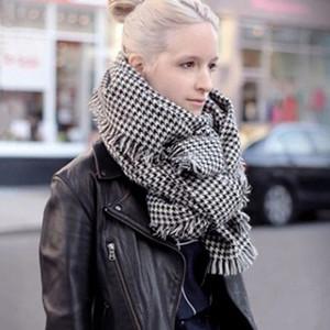 Conditionnement de l'air femme grande cape foulard double pied de poule noir et blanc ultra-large fils femelle longue épaisseur 200 * 80cm