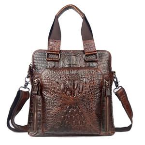 도매 새로운 첫 번째 레이어 암소 가죽 정품 가죽 가방 남성용 악어 스타일 남성의 비즈니스 메신저 가방 어깨 핸드백