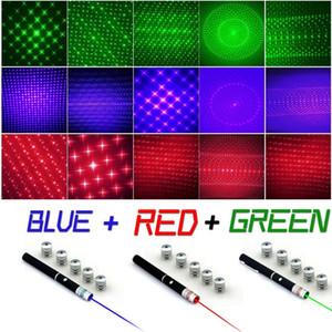 قوية 5 ميجا واط 6 في 1 أخضر أزرق أحمر مؤشر الليزر شعاع ضوء الليزر القلم 5 قبعات 405NM-650NM مجانية