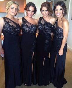 2017 Nova Barato de Um Ombro Bainha Coluna Vestidos de Dama de honra Dividir Frente Lace Appiques Até O Chão Da Dama De Honra Vestidos de Casamento Convidados Desgaste