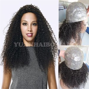 Yüksek kaliteli 1b bakire perulu saç sapıkça kıvırcık tam ince cilt peruk siyah kadınlar için ücretsiz kargo