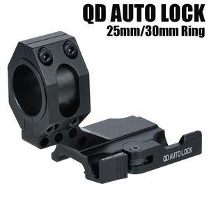 "Tactical Auto Lock Schnellspanner Cantilever 25mm / 30mm Scope Ring 2 ""Vorwärts Scope Position Picatinny Weaver QD Mount Schwarz"