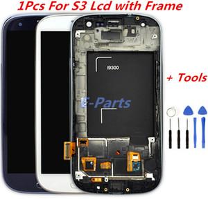 Samsung Galaxy S3 Için 1 Adet LCD Ekran ve Sayısallaştırıcı Dokunmatik Ekran Ile Logo ve Çerçeve Ile i747 L710 T999 i535 Açık Araçları ile i9300 i9305