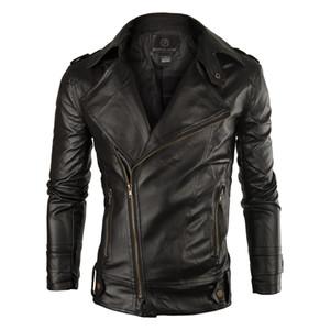 Wholesale- New  Leather Jacket Men 2017 Fashion Mens Slim Fit Motorcycle Biker Jacket Casual Jaqueta De Couro Veste Cuir Homme 140