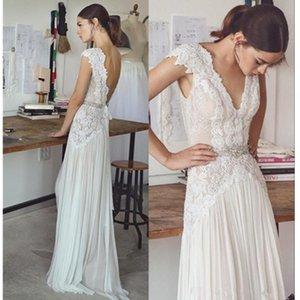 Women New Sheath Backless Deep V Neck Sexy Wedding Dress Beach Summer Pleats Lace Bridal Gowns Crystal Cap Sleeve Illusion Appliques