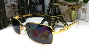 Neue Art und Weise Sport Mens halb Rand Sonnenbrille Halbrahmen Leopard Gold Metal-Legierung Rahmen Goggles Buffalo Frauen Halbrand Brillen Oculos de