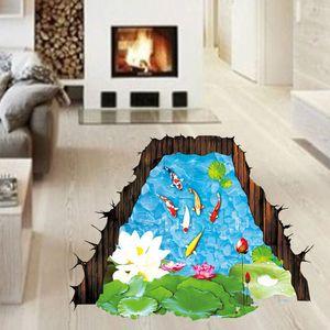 3D ستيريو السمك في الملصق بركة لوتس ملصقات الحائط القابل للإزالة ماء خلفيات PVC ديكور DIY الديكور المنزلي جدار الفن جدارية