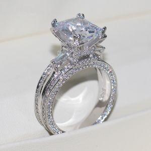 Vecalon Frauen Big Schmuck Ring Prinzessin Cut 10ct Diamant Stein 300pcs Cz 925 Sterling Silber Engagement Ehering Geschenk