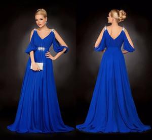 Royal Blue Chiffon V Neck Beaded Pleated Long Beaded Elegant Party Sexy Evening Dresses For Womens Vestido De Festa Longo Formal Gowns