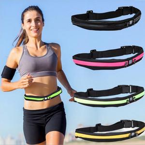 Caché bande de taille double Poches Sports Fitness Gym Ceinture Pouch Fanny pack étanche haute densité élastique taille Bum en cours de hanche sacs
