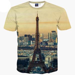 3d تي شيرت أوروبا أزياء تي شيرت الرجال / النساء 3d تي شيرت الصيف القمم تيز طباعة مدينة باريس برج ايفل قصيرة الأكمام الزى