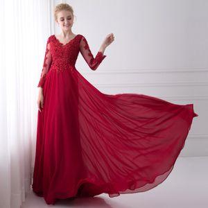 Robe de soirée Appliques Dentelle Nouveau Design robes de soirée col en V Straight Light Red robe de bal robes de soirée robe de fête