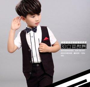 Yaz Kore Çocuk Erkek Setleri Nokta Yelek Gömlek + Kısa Pantolon 3 adet Batı Tarzı Giyim Setleri J6028
