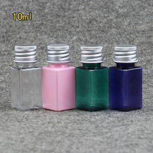 Atacado-10ml Pequeno Cosméticos Água Quadrado Maquiagem Óleo Essencial Perfume Recarregável Recipiente Plástico Claro Azul Rosa Verde