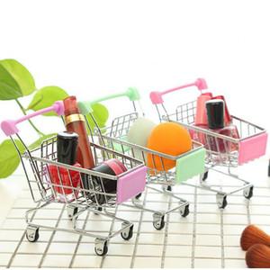 Mini Süpermarket Handcart Yardımcı Alışveriş Sepeti Modu Depolama Organizer Kadınlar Toz Puf Ekran Tutucu Oje Konteyner ZA2520