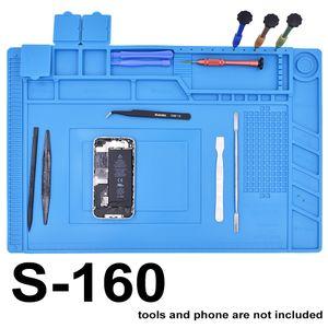 Yeni Geldi S-160 45x30 cm Mavi Kauçuk Silikon Ped ile Manyetik Tamir Mat Isı Yalıtım BGA Lehim Tamir Istasyonu 5 adet / grup
