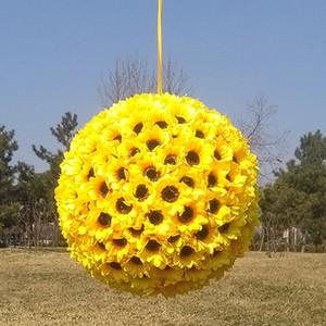 10 Дюймов Подсолнечника Kissing Ball цветок в желтом украсить цветы искусственный цветок для свадьбы вечеринка в саду подарок украшения поддельные шелковый цветок