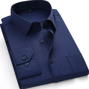 Wholesale- Plus Size 4XL 5XL 6XL 7XL 8XL Men Dress Shirts Long Sleeve Solid White Color Man Business Formal Work Shirts Male Casual Tops