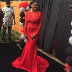 Dentelle Applique bijou rouge Nouvelle Celebrity Dresses 2017 Mermiad enceinte concepteur formel modeste fée dos sans dossier robes de cérémonie pour les femmes