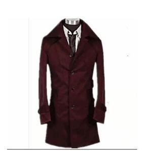Designer teenage slim sexy trench coat men fashion long sleeve mens medium-long trench coat classic outerwear plus size S - 9XL