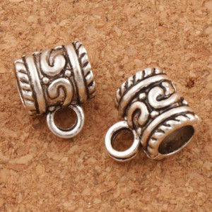 Swirl Dots Connettori Bails Beads 200pcs / lot 10.8x8.7mm Argento Antico / Bronzo Fit Braccialetto Europeo Charm L721