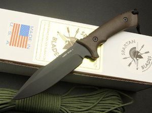 Top Quality Spartan sopravvivenza lama diritta 58HRC 7Cr17 Black Blade escursione di campeggio esterna di caccia Lama fissa Coltelli coltello con scatola al minuto