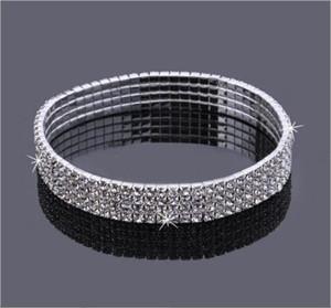 4-Satır Dört Sıralar Pırıltılı Kristal Kadınlar Sıcak Satılık Yapay elmas Halhal Stretch Taşlı Tenis Ayak bileği Zincir Seksi Halhal Gelin Düğün Aksesuarları