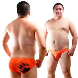 Plus Size Urso Garra Pata Dos Homens Swimwear Triangular Briefs Troncos Gay Urso de Cintura Baixa Cuecas Para Urso 6 Cores M L XL XXL