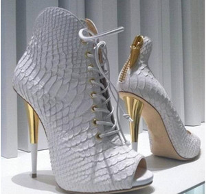 2017 женщины белые сапоги змеиная кожа печати кожаные сапоги дамы партия обувь peep toe высокий каблук пинетки платье бота женщина сексуальная mujer лодки
