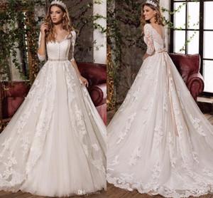 로브 드 Mariage 우아한 화이트 전체 레이스 웨딩 드레스 분리 가능한 벨트 웨딩 웨딩 드레스 긴 소매 Vestidos 드 Novia