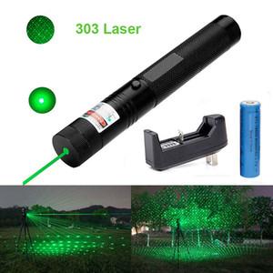 303 Green Laser Pointer Pen 532nm 1mw Messa a fuoco regolabile Batteria + Caricabatterie Set adattatore UE Spedizione gratuita
