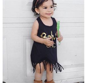 2017 Neonate Tassel Dress Toddler Boutique Girl Abbigliamento Mini vestiti infantili Frangia di un pezzo Sundress senza maniche per bambini vestiti neri