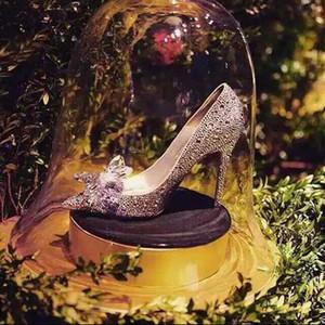 Новый Роскошный Золушка Серебро Высокие Каблуки Кристалл Лето Свадебные Туфли Острым Носом Тонкий Каблук Горный Хрусталь Бабочка BlingBling Обувь