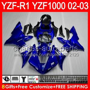 8Gift 23Farbe Körper für YAMAHA YZF1000 YZFR1 02 03 00 01 YZF-R1000 62HM4 blau schwarz YZF 1000 R 1 YZF-R1 YZF R1 2002 2003 2000 2001 Verkleidung
