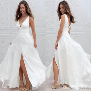 Neue Sommer 2019 Strand Boho Brautkleider Chiffon A Line Sexy V-Ausschnitt High Side Slit Brautkleider Bohemian Brautkleider nach Maß