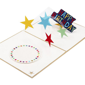 뜨거운 판매 레인보우 별 인사말 카드와 봉투 접이식 팝업 3d 카드 최대 아름 다운 잘라 종이 손수 생일 카드 선물