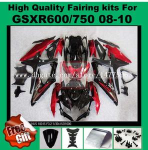 Carenados de inyección para 2008 2009 SUZUKI K8 K9 GSXR600 GSXR750 2008 2009 2010 GSX-R600 GSX-R750 08 09 10 carenado rojo negro # 178V-T5